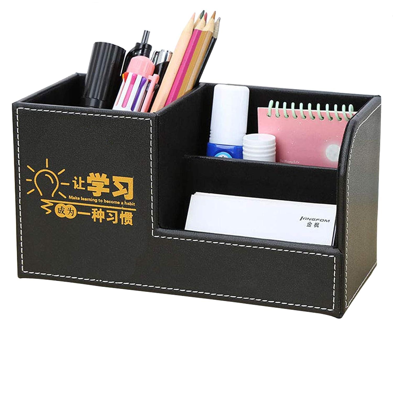 Gold Decorative LiLan B/üro Schreibtisch Organizer Ordnungssystem 3 Speicherabteil PU Leder Stiftebox Stiftek/öcher B/ürobedarf