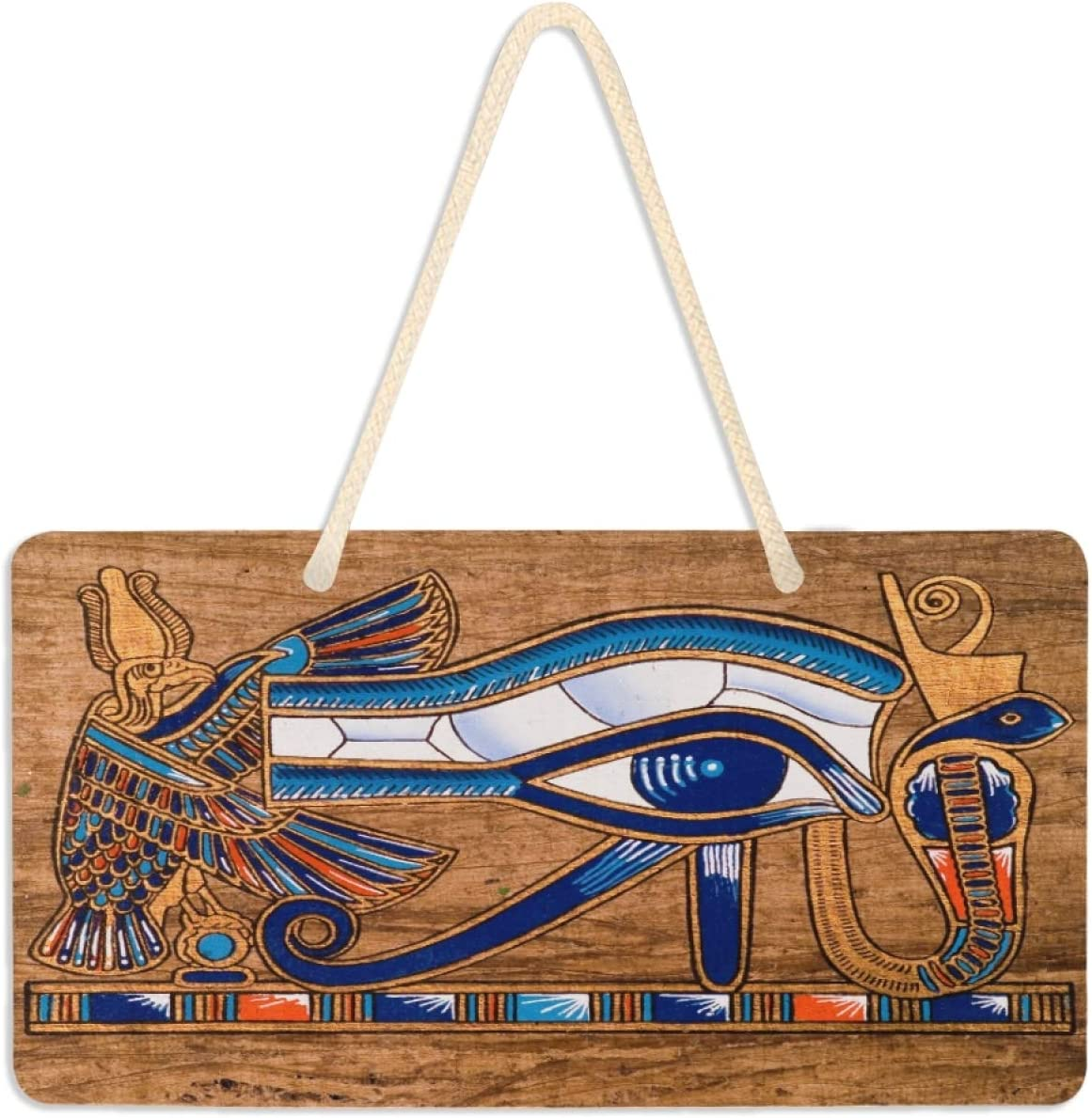 """AUUXVA YKMustwin Egyptian Horus Eye Door Hanging Sign Plate PVC Dirty Resistant, Waterproof Wall Sign Decor Hanging Plaque with Rope for Home Garden Yard 11"""" x 6"""""""