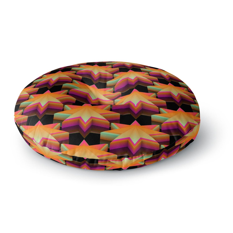 Kess InHouse Danny Ivan Stars Pattern Black Orange 26 Round Floor Pillow