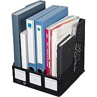 Deli Magazine File Book Holder Desktop Organizer Vertical Document Folder for Office Organization, 3 Compartments, Black
