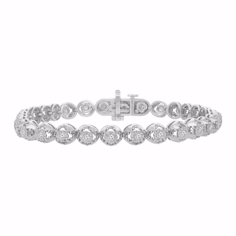 Sterling Silver Rose-Cut Diamond Bracelet (1.00 cttw, I-J color, I3 clarity) by Original Classics