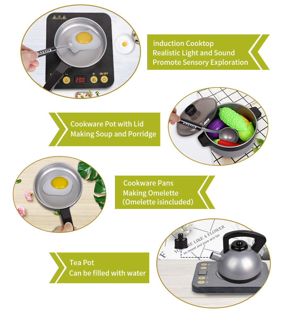 Kids Kitchen Pretend Play Set - 29Pcs Kitchen Toys Including Induction Cooker with Light Sound, Apron&Chef Hat, Cookware Utensils, Cutting Food Playset Accessories for Toddlers Girls Boy Birthday Gift