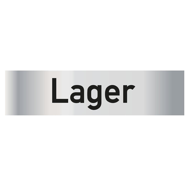 Schwarz selbstklebend T/ürschild PVC Hinweisschild Lager 160mm x 40mm Silber