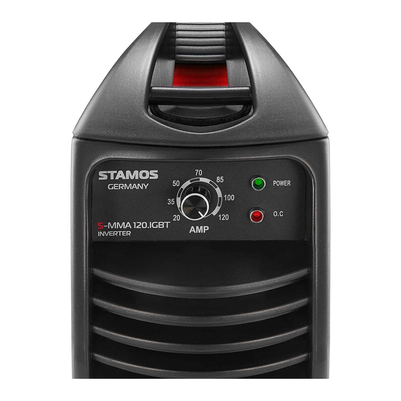 Stamos Germany Equipo de soldar por electrodo Soldadora inverter MMA S-MMA 120.IGBT (120 A, 230 V, Hot Start, IGBT, incl. accesorios): Amazon.es: Hogar
