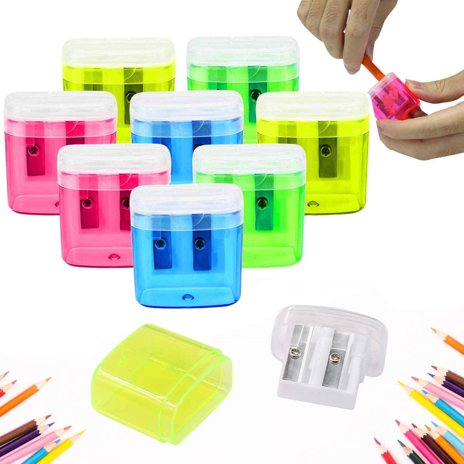 24 Pack Dual Hole Pencil Sharpener Manual Pencil Sharpeners with Lid for School Home Office Using, ForTomorrow Assorted Bulk Hand Held Pencil Sharpener (24 Assorted Packs with Lid) : Office Products