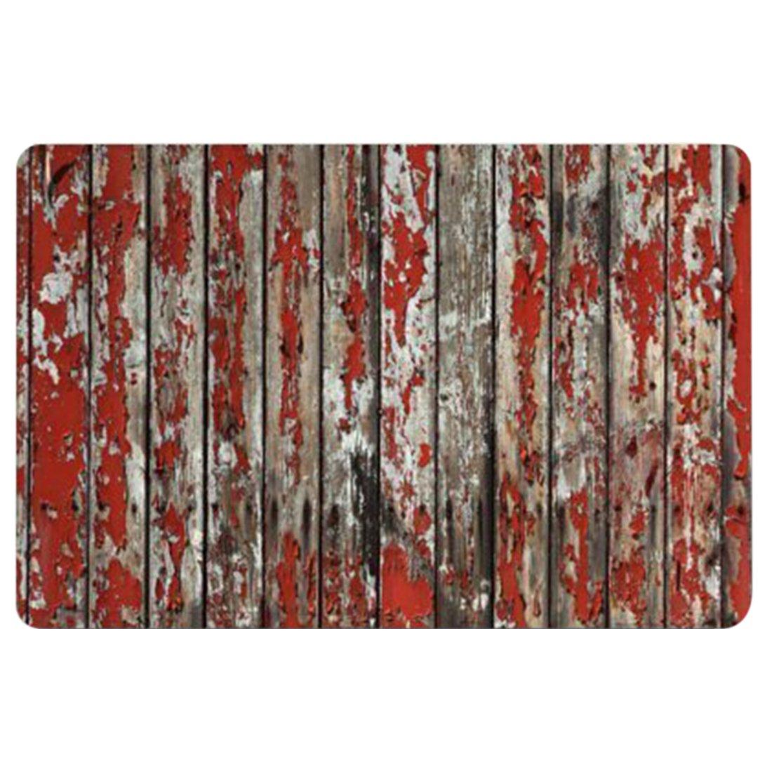 Doormat, Wood,Rustic Old Barn Wood Indoor/Kitchen/Bathroom Mats Rubber Non Slip Door Mats,Red Grey 18x30inch