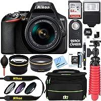 Nikon D3500 24.2MP DSLR Camera + AF-P DX 18-55mm VR NIKKOR Lens Kit + Accessory Bundle 64GB SDXC Memory + SLR Photo Bag + Wide Angle Lens + 2.2x Telephoto Lens + Flash +Remote +Tripod +Filters (Black)