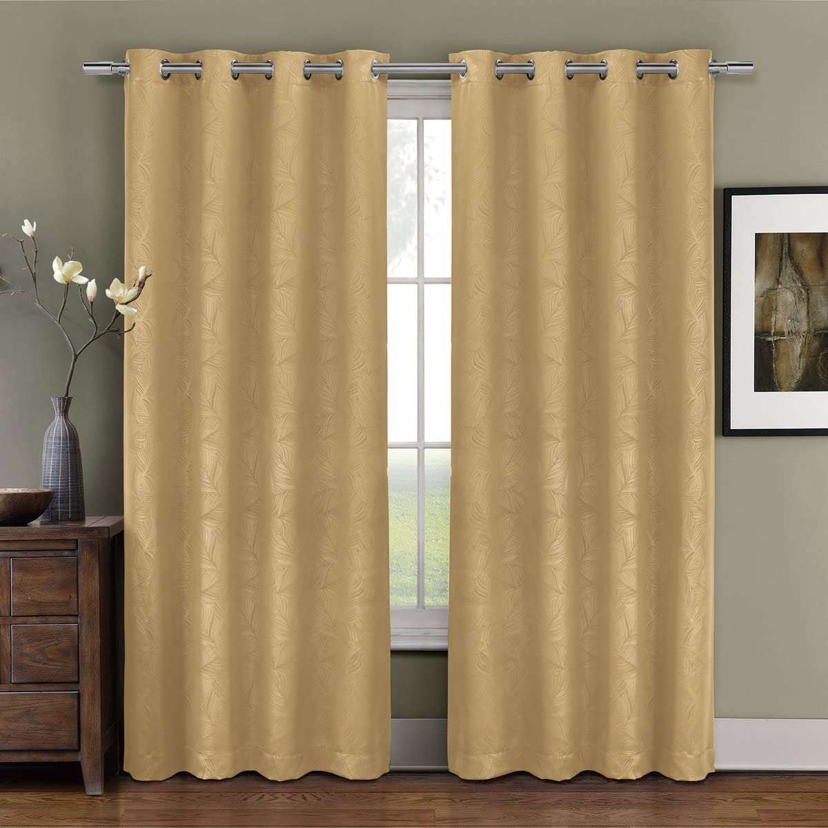 Exquisite Draperies Pair of Two Top Grommet Blackout Weave Embossed Curtain Panels, Triple-Pass Foam Back Layer, Elegant and Contemporary Prairie Blackout Panels, Gold, 108 Panels