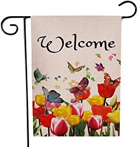 Henriyne Garden Flag Welcome Spring Watercolor Tulips Butterflies Floral Vertical Double Sided Yard Flag for Summer SpringOutdoor Yard Front Door Decorative Rustic Farmhouse Decor 12.5x18 Inches
