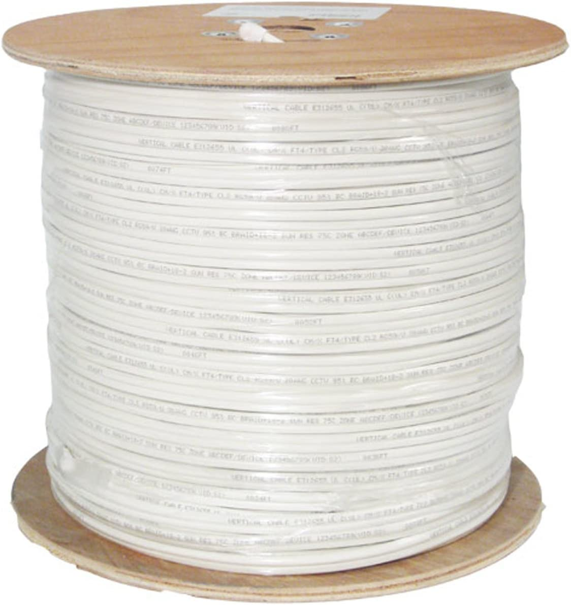Wooden Spool 2 Conductor 41 Strand 14AWG White 1000 ft Audio Cable PVC Jacket