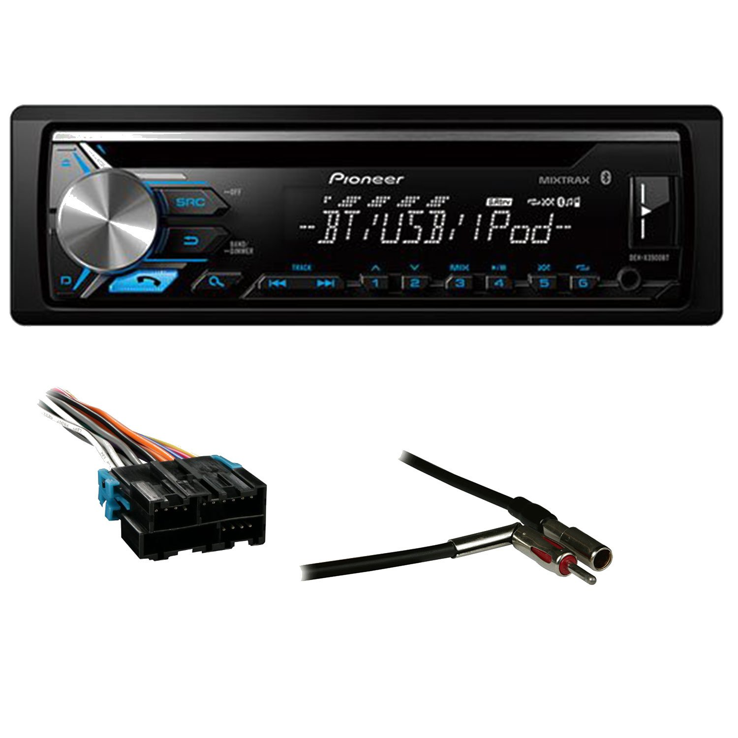 Amazon.com: Pioneer DEH-X3900BT Single DIN Bluetooth In-Dash CD/AM/FM Car  Stereo Receiver with Metra 70-1858 Radio Wiring Harness For GM 88-05 Harness  ...