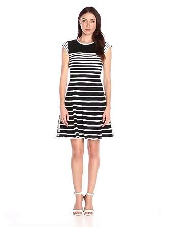 61d9231c36 Amazon.com  Betsy   Adam Women s Cap Sleeve Ribbon Piping Dress ...