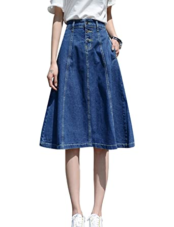 dea2971cd6 Tanming Women s High Waist A-Line Midi Denim Jean Skirt at Amazon ...