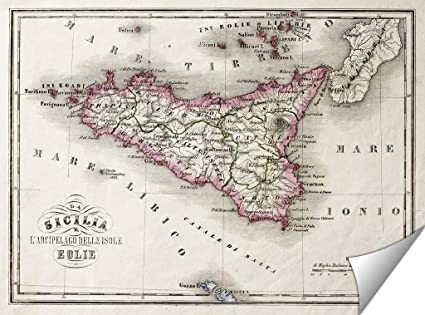 picture relating to Printable Map of Sicily called Ashley Giclee Sicily an Other Islands Previous Map Wall Artwork Poster Print for Bed room, Well prepared towards Body, 16x20 Print