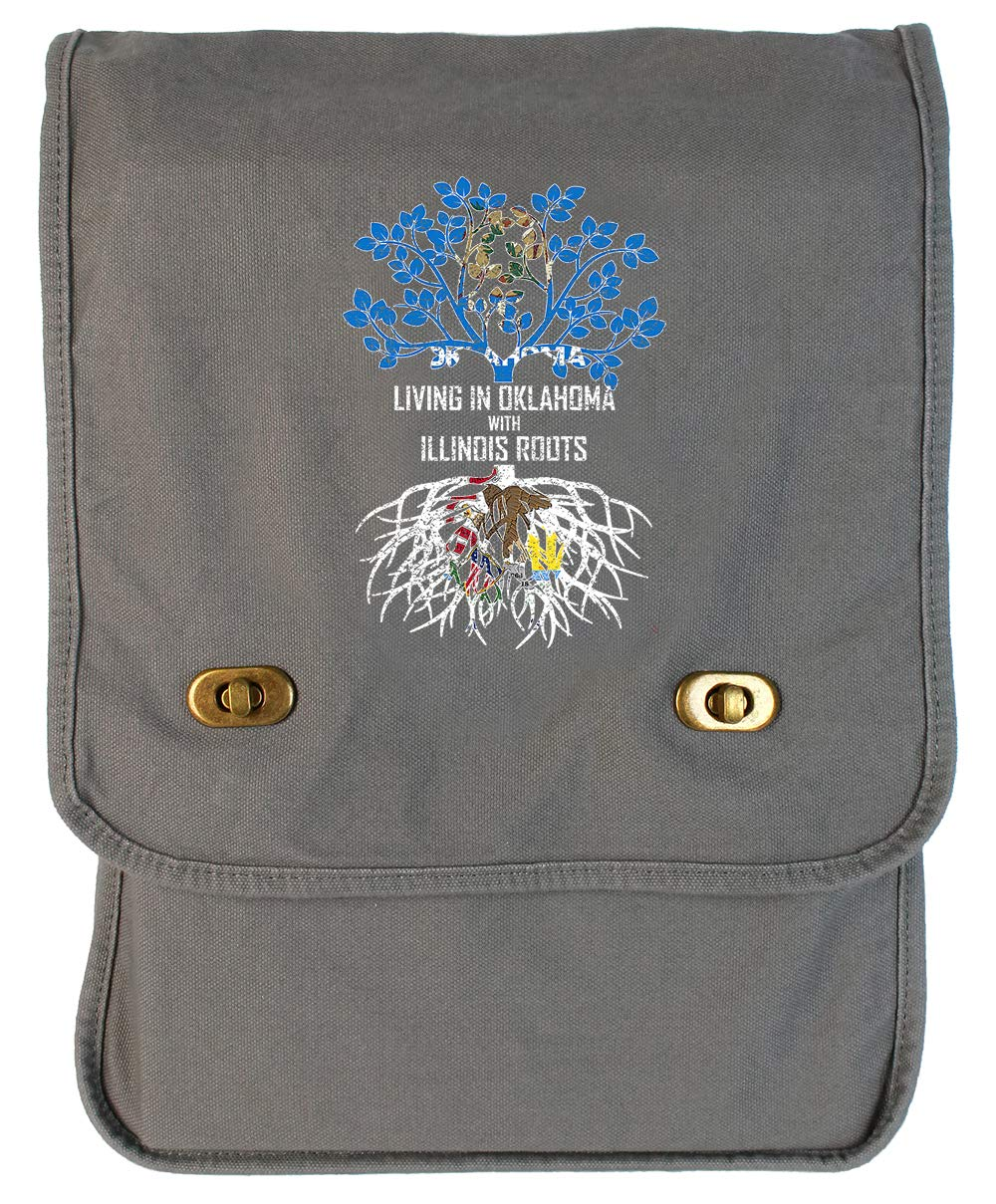 Tenacitee Living In Oklahoma with Illinois Roots Grey Brushed Canvas Messenger Bag