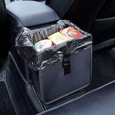 Hanging Car Trash Bag Can Premium Waterproof Litter Garbage Bag Organizer 1.85 Gallon Capacity Black Powertiger: Automotive