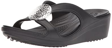 1cbc42af109b Crocs Women s Sanrah Hammered Circle Wedge Sandal Black