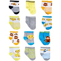 Disney Baby Boys Mickey Mouse Assorted Color Design 12 Pair Socks Set, Age 0-24 Months