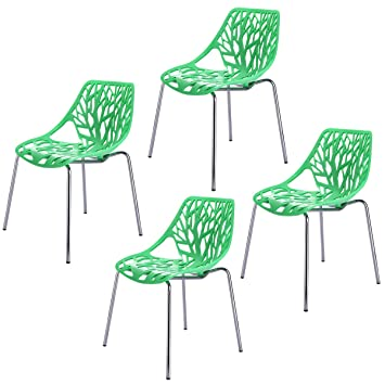 Set Of 4 Green Side Dining Chair 18u0026quot; Height Birds Nest Chairs For  Dining Room