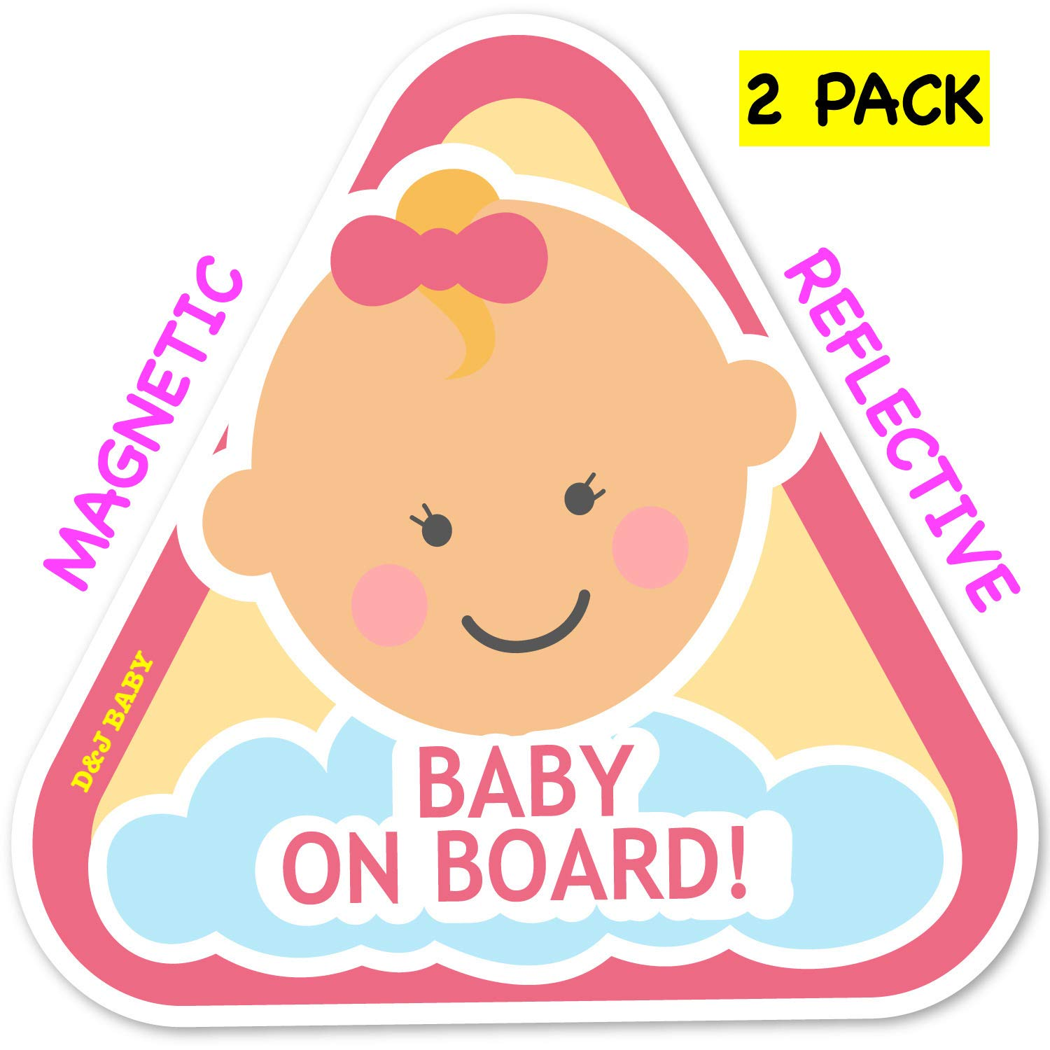 New: Baby on Board Magnetic and Reflective Sign for Car (2 Pack) (Baby Girl) D&J International
