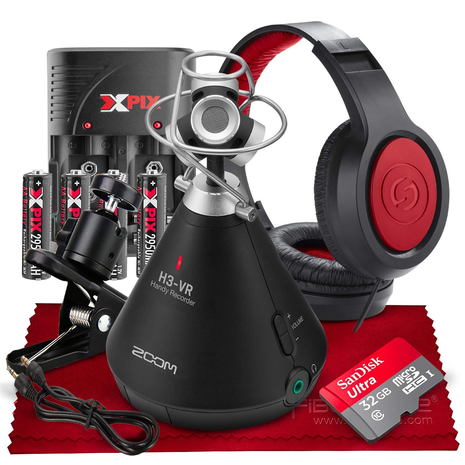 Zoom H3-VR Handy Multi-Track Digital Audio Recorder with 32GB Card & Deluxe Accessory Bundle