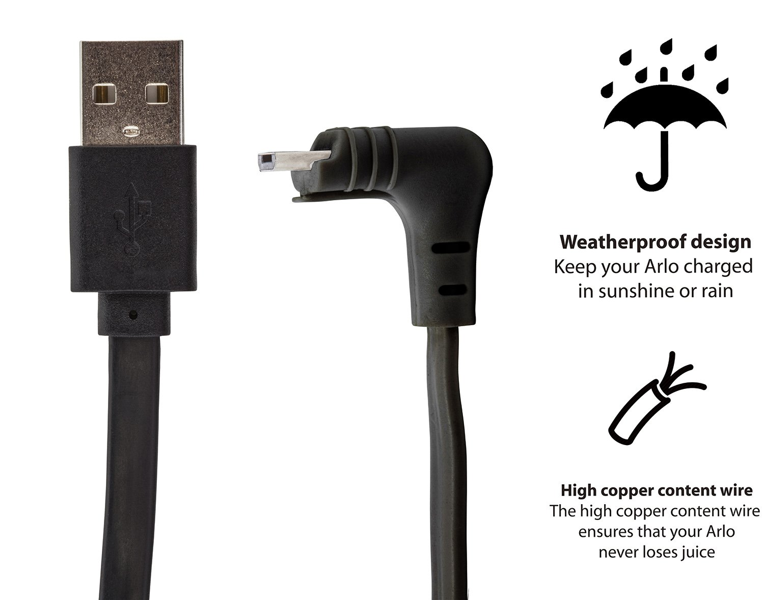 Weatherproof 16ft 5m Cable Compatible With Arlo Pro Wiring Outside Electrical Box 2 By Wasserstein Black Camera Photo