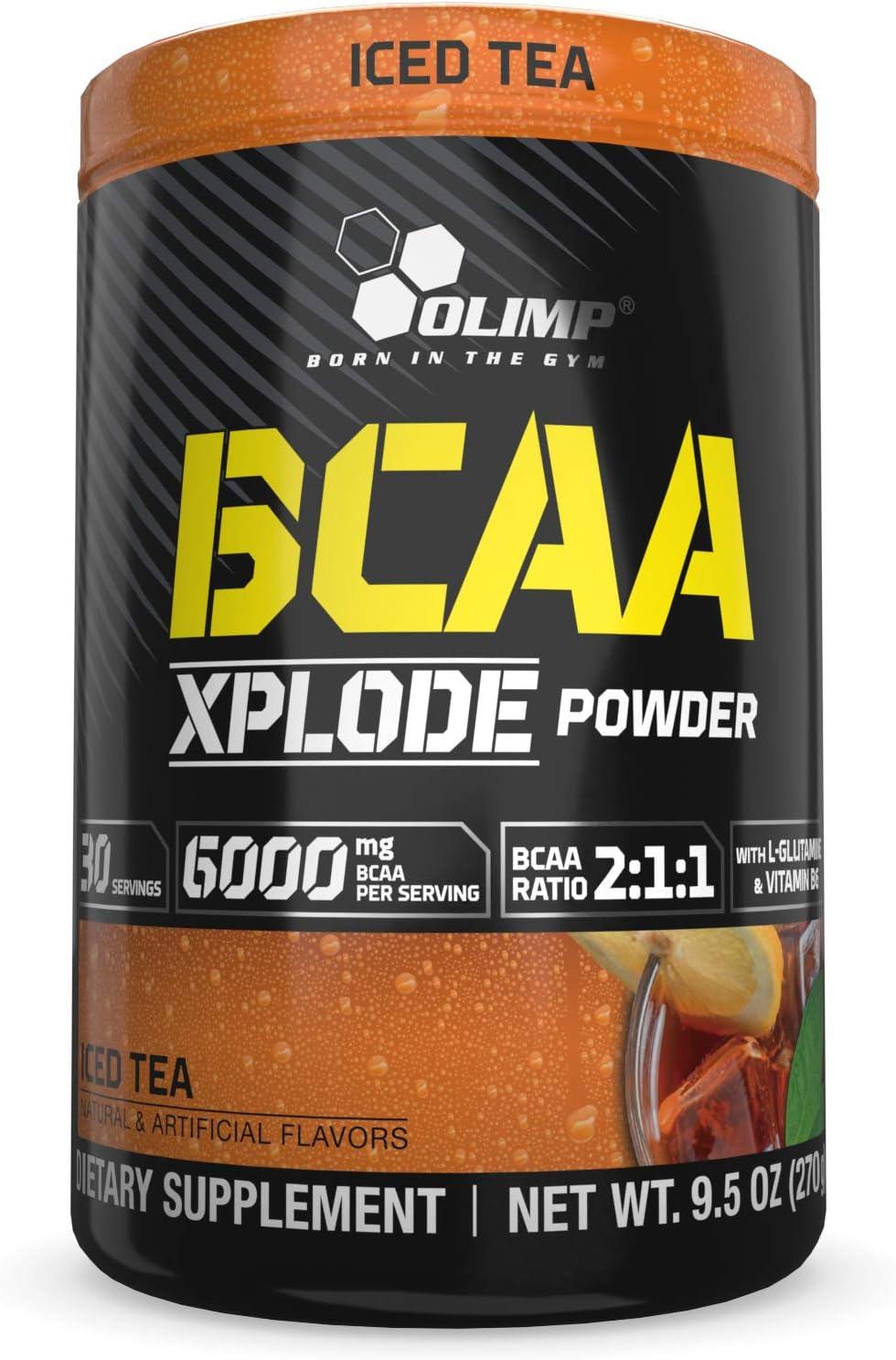 Olimp BCAA Xplode Amino Acids Powder - Pack of 9.5 oz - 30 Servings - Iced Tea Flavored - Recovery Supplement - L-Glutamine, Vitamine B6, Calcium, Sodium