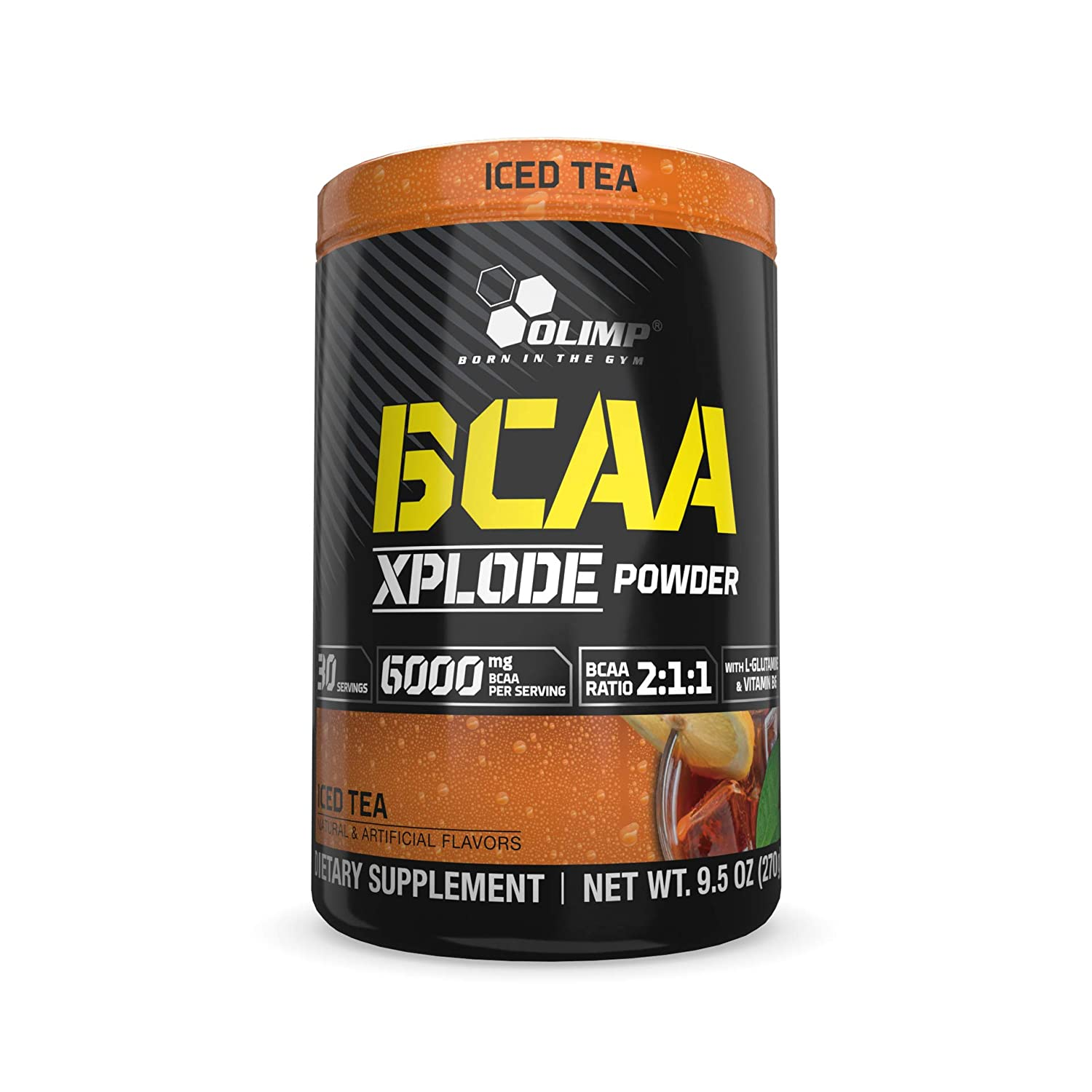 Olimp BCAA Xplode Amino Acids Powder – Pack of 9.5 oz – 30 Servings – Iced Tea Flavored – Recovery Supplement – L-Glutamine, Vitamine B6, Calcium, Sodium
