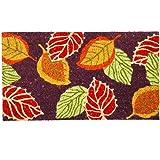 Evergreen Flag Fall Leaves Metallic Coir Doormat