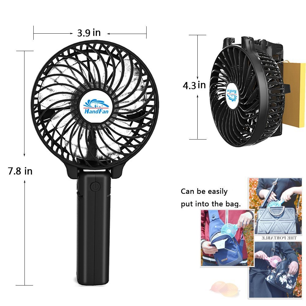 Mini Fan Battery Operated, Kingcenton Handheld Portable Foldable 4 Inch Fan with Clip for Stroller - 2000mAh Rechargeable Battery, 3 Speeds Adjustable for Home, Office and Travel (Black) by Kingcenton (Image #1)