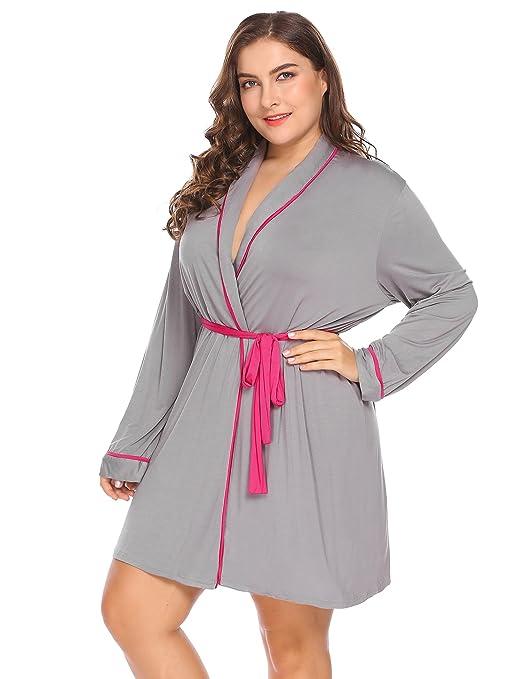 Women's Plus Size Long Sleeve Wrap Robe Sleepwear Soft Kimono Robe with Oblique V-Neck