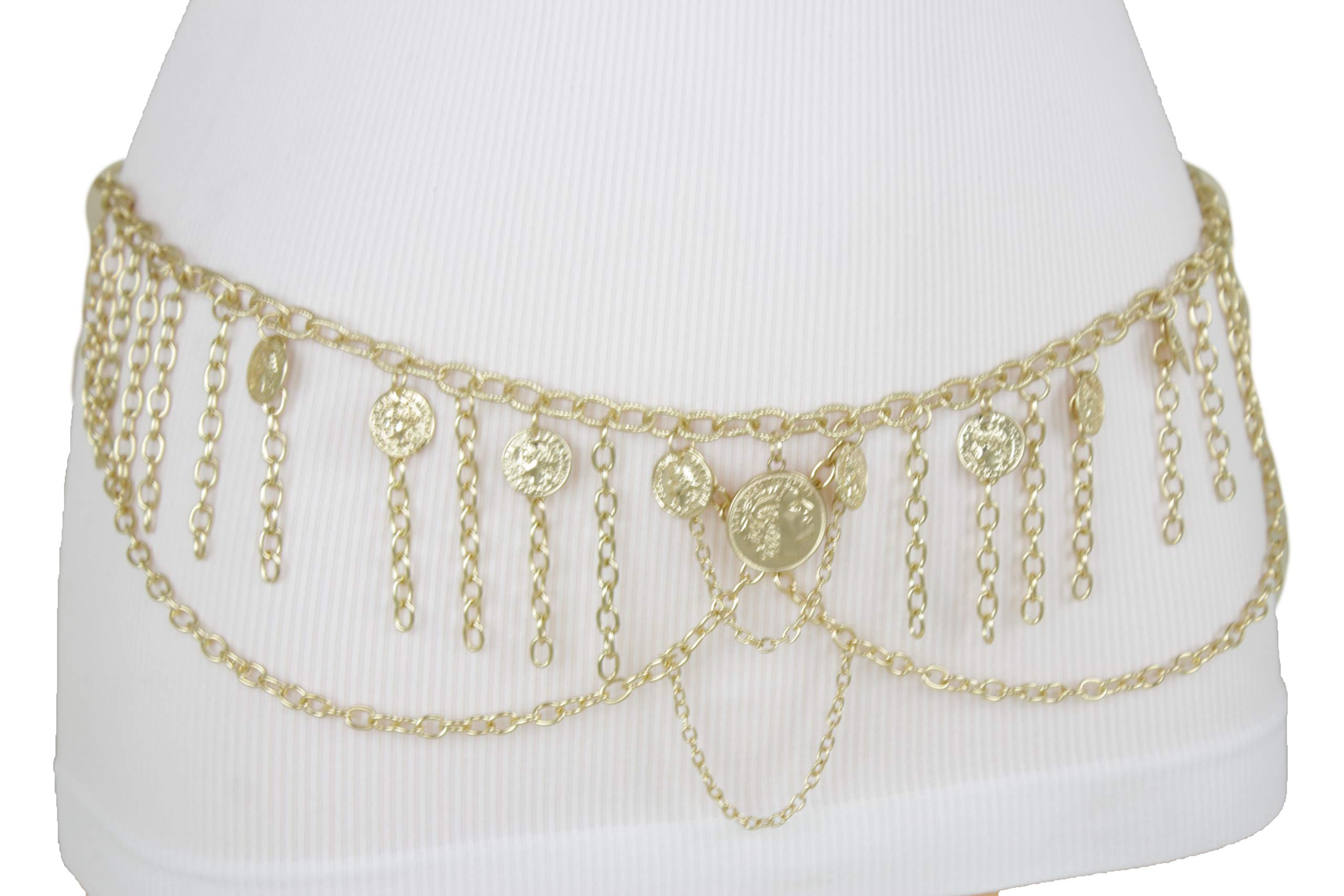 TFJ Women Ethnic Belt Hip Waist Gold Metal Chain Wave Coin Charms Belly Dancing M L XL