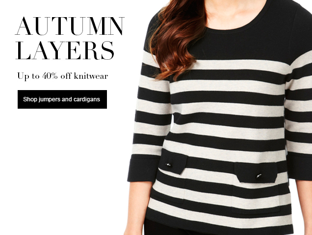 Autumn layers up to 40% off knitwear