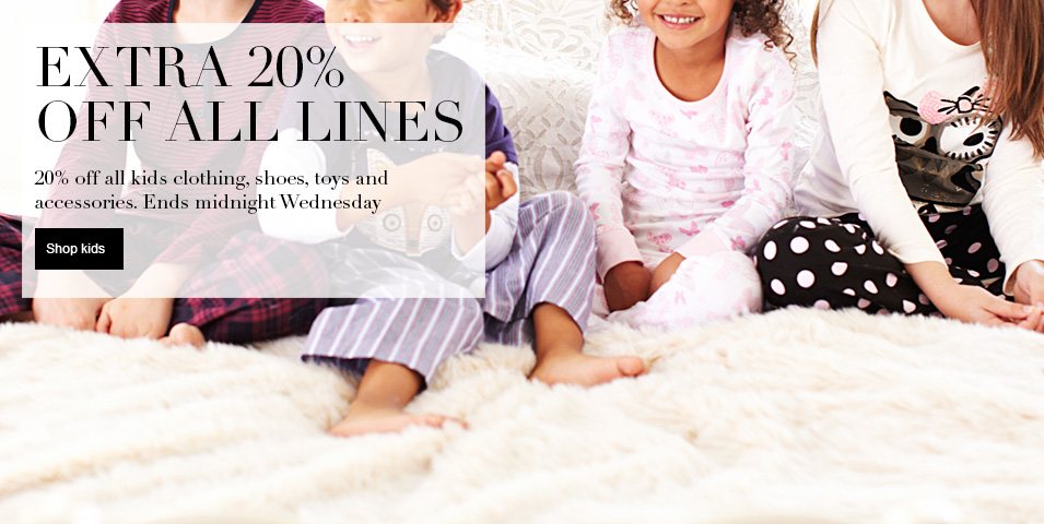 20% Off Everything for Two Days Only - Ends Wednesday at Midnight 20% off all kids clothing, shoes, toys & accessories
