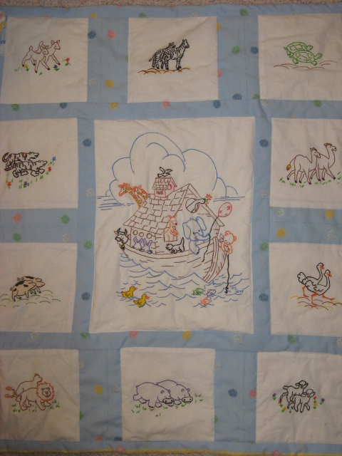 Aunt Martha's Noah's Ark Baby Quilt done using fabric paints!