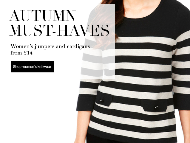 Autumn must-haves Women's jumpers & cardigans from £14
