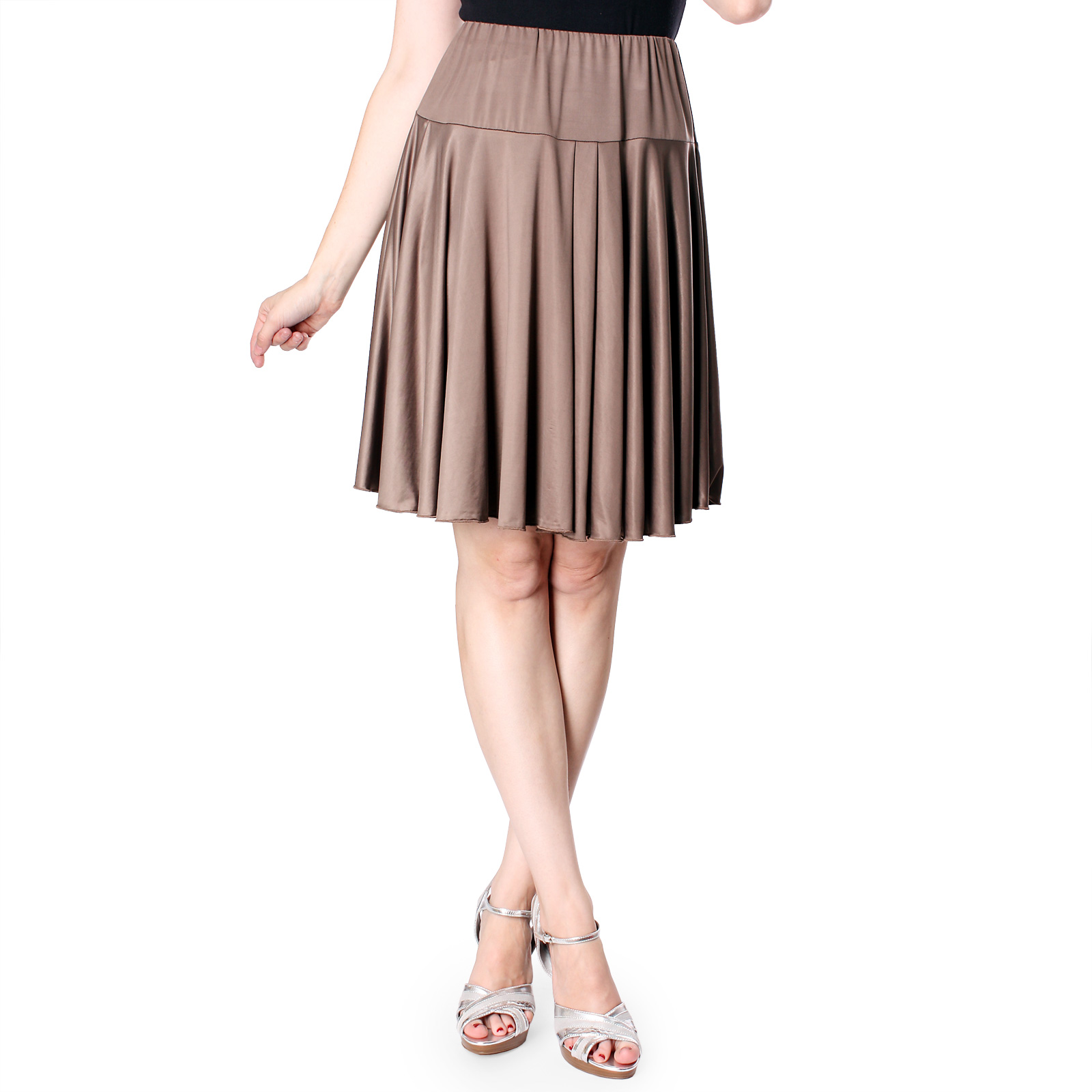 Evanese Women's Shiny Venezian Yoke Skirt with Uneven Pleats at Sears.com