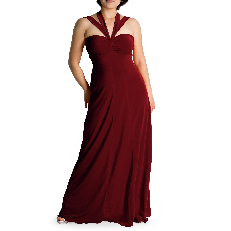 b73e702b033 Evanese Women s Plus Size Elegant Cross Tie Halter Long Formal Party ...