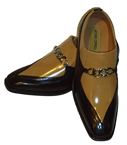 6710 Mens Dark Brown Tan Two Tone Dress Shoes Loafers