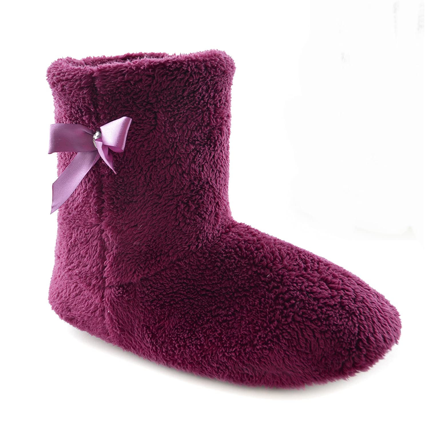 New Women's Grey Pink Hearts Warm Fleece Fur Lined Slipper Ankle Boots Booties
