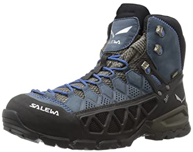 Salewa Mens Alp Flow Mid GTX Alpine Trekking Boots Black OliveRoyal Blue