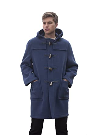 Mens Long Duffle Coats -- Indigo -- Size 50: Amazon.co.uk: Clothing