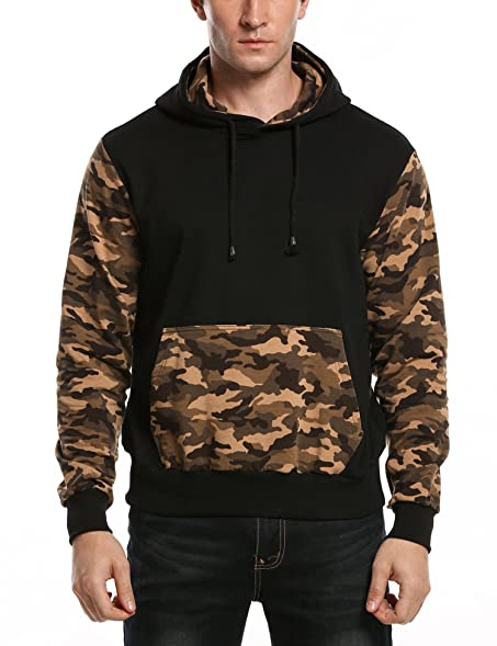 Jinidu Men's Fashion Splice Camo Pullover Hoodie Sweatshirt at ...