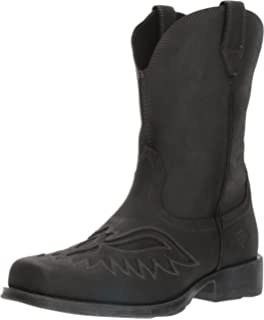 Men's Ariat Rambler Renegade Cowboy Boot, Size: 9 2E, Basto Black Full Grain Leather