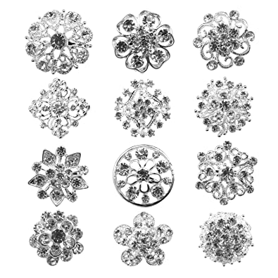 TOOKY Wholesale Lot 25pcs Rhinestone Crystal Brooches Brooch Pins Bouquet Kit HQaEz0F