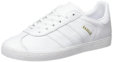 adidas originals all white leather gazelle sneakers
