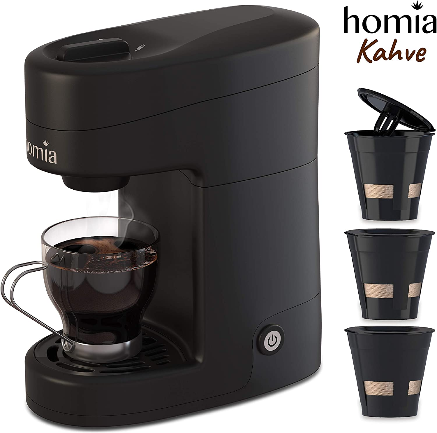 1 Cup Pod Coffee Maker Black 8 oz. Capacity