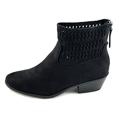 Peyton Women's Western Back Zipper Stacked Heel Ankle Booties
