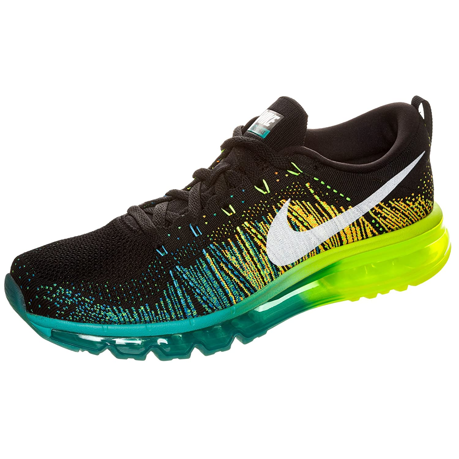 Men's Nike Flyknit Air Max BlackTurbo Green Volt Running Shoes 620469 001 For Sale