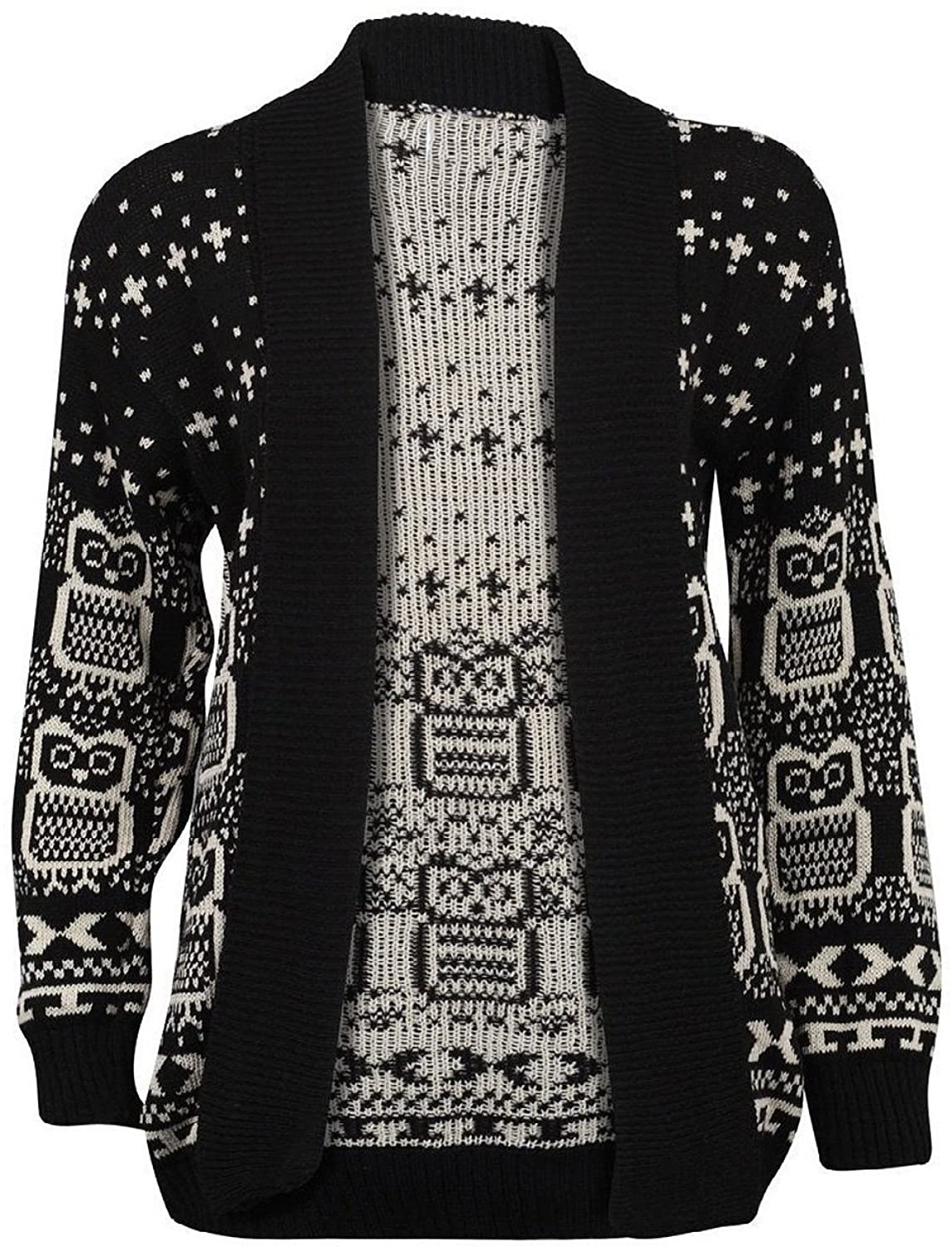 NEW WOMEN OWL PRINT LONG SLEEVE KNITTED CARDIGANS UK SIZE 8-16 ...